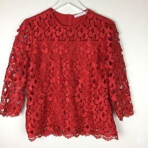 Anne Fontaine Sephira 3/4 sleeve red lace top